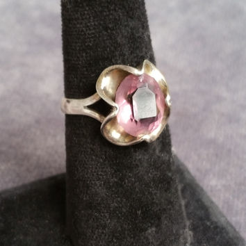 Vintage Amethyst sterling silver ring made in Mexico size 9