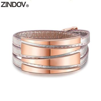 ZINDOV Genuine Leather Bracelets Women Rose Gold Stainless Steel Wrap Bracelets Bangles Wide High Quality Female Trendy Jewelry