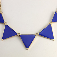 Triangle necklace, geometric necklace, blue Triangle necklace, ON SALE