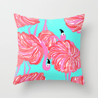 pink flamingo (Lilly Pulitzer style) Throw Pillow by uramarinka