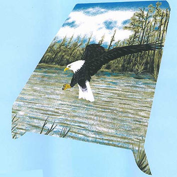 Flying Eagle Over Lake MIL Queen Blanket - Free Shipping in the US!