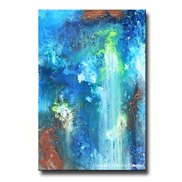 GICLEE PRINT Art Abstract Painting Modern Blue Canvas Prints Urban Teal Brown City Sizes to 60""