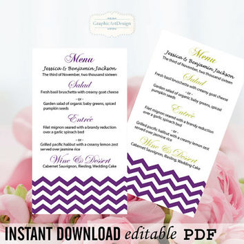 Printable Wedding Menu Card Template - Eggplant Purple Chevron Printable Wedding Menu Program 4x7 Editable PDF Template - Instant Download