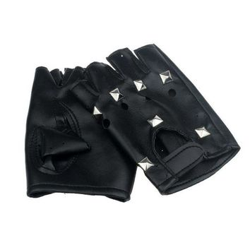 ac DCCKO2Q 2017 Theatrical Punk Hip-hop PU Black Half-finger Leather Gloves Square Nail Y8033