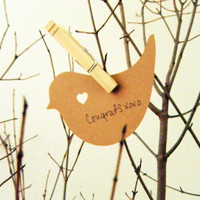 Wishing Tree Birds with heart in Kraft color by KittyDuneCuts