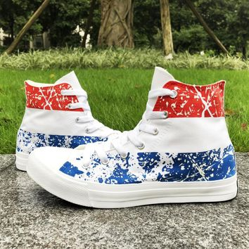 Wen Netherlands Flag Stripe Flag Hand Painted Canvas Shoes Lace up Flat High Top Man Woman's Athletic Sneakers Big Size 46-49
