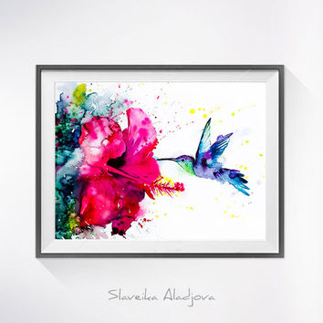 Hummingbird 2 watercolor painting print, Hummingbird art, Flower watercolor, animal illustration,Hummingbird illustration, bird art,Hibiscus