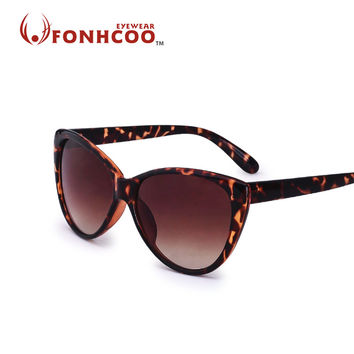 2017 FONHCOO Oversized frame classic tortoise glasses Sunglasses women brand designer cat eye Oculos De Sol UV400 rays protect