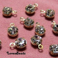 30 Tiny Delicate Crystal Rhinestone Charm Drops-5x7mm-Sparkes-Faceted Clear