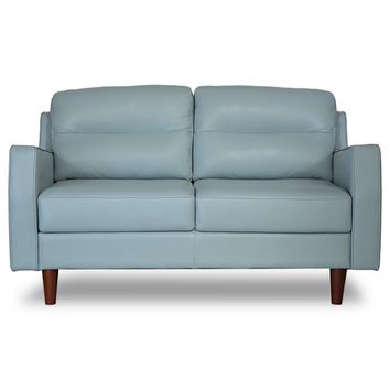 Valley Spring Leather Apartment Size Sofa SKY BLUE