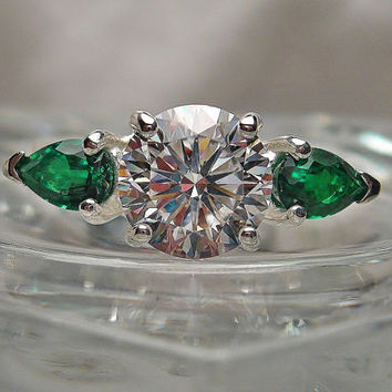 White, Warm White or H/I Color Precision Cut Hearts and Arrows Cubic Zirconia and Pear Lab Emerald Sterling Silver Ring Made to Order