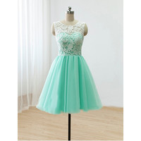 Mint bridesmaid dress,Short bridesmaid dress,Lace bridesmaid dress,homecoming dress,BD395