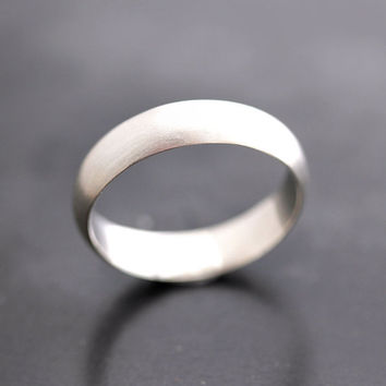 Men's Wedding Band, Matte 5mm Unisex Recycled Metal Argentium Sterling Silver Ring Men's Ring - Made in Your Size