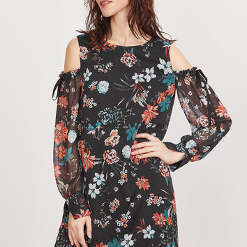 Black Floral Print Cold Shoulder Dress