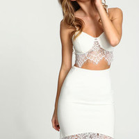 Ivory Lacy Plush Knit Bralette - LoveCulture