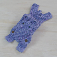 Yarn hippo — handmade soft scarf, crochet knit scarf, animal scarf, lilac hippo, hippo scarf, children scarf, light violet, original unique
