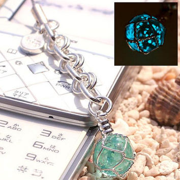 Okinawa Chura Stone Glow-in-the-dark Jewelry Amulet Strap String Japanese Cellphone Charm  Stone Jewelry (Water blue/March)- 188-CHURA-PL-3