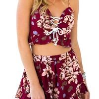 Women's Boho Floral Print Jumpsuit Rompers Short 2 Piece Outfits Red