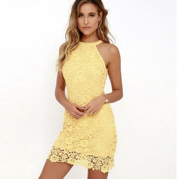 Summer Spring Elegant Wedding Party Sexy Club Lace Dress For Women Dresses Yellow Lady Bodycon Halter Short Dress