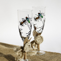 Champagne Toasting Hand Painted Glasses Flutes Rustic Shabby Style Insects Painting set of 2