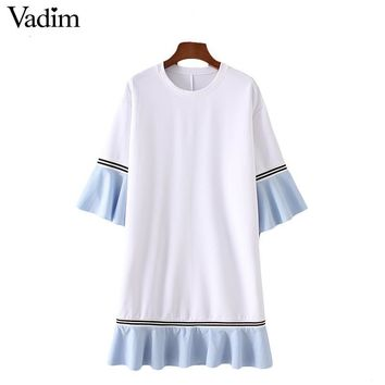 Vadim women elegant ruffles patchwork mini dress butterfly sleeve half sleeve o neck summer casual dresses vestidos QZ3036
