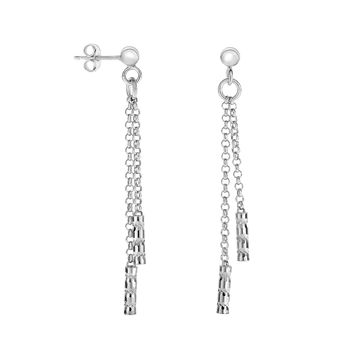 Silver Rhodium Finish Shiny+Diamond Cut Double Stranded Rolo Chain Drop Earring with Tube Element+Push Back Clasp