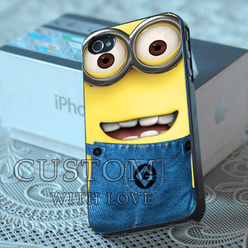 Cute Despicable Me Minions - Rubber or Plastic Print Custom - iPhone 4/4s, 5 - Samsung S3 i9300, S4 i9500 - iPod 4, 5