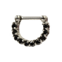 Silver and Black Septum Clicker 1.6mm