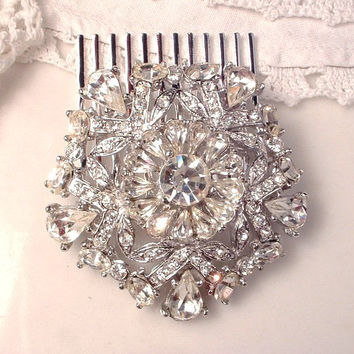 Art Deco Rhinestone Hair Comb, TRUE Vintage 1920s Clear Pave Crystal Bridal Headpiece, Vintage Brooch to Hair Accessory Great Gatsby Wedding