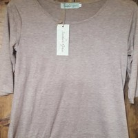 Bella's Lace Taupe Solid 3/4 Sleeve Shirt