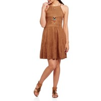 No Boundaries Juniors Faux Suede Halter Babydoll Dress - Walmart.com