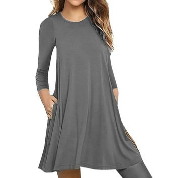 Autumn Women dress Vestidos De Fiesta Solid Long Sleeve Pocket Casual Loose Dress Party Christmas Dress Women 2019