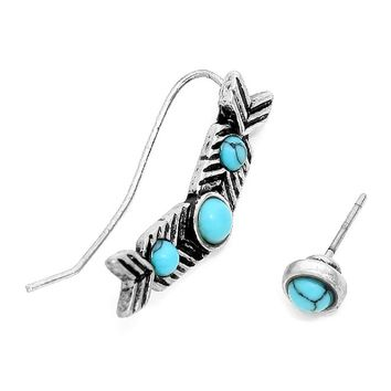 Affordable Chic Jewelry Women's Aztec Tribal Turquoise Arrow Ear Crawlers Stud Earrings