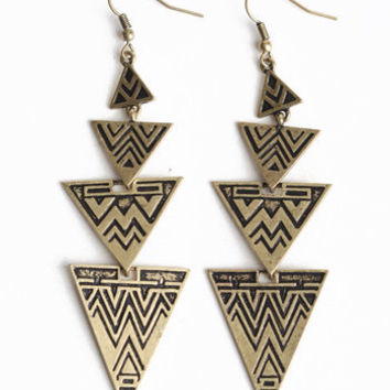 Azteca Arrow Earrings - $9.00 : ThreadSence.com, Your Spot For Indie Clothing & Indie Urban Culture