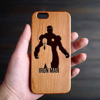 The Iron Man Cherry Wood One Piece iPhone 6 6s Case , Engraved Wood iPhone 6 6s Case , iPhone 6 6s Case Wood , Valentines Gift for him