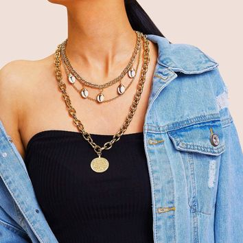 Coin & Shell Pendant Layered Chain Necklace 1pc