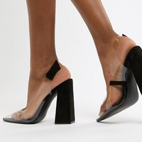 Public Desire Lure black clear detail block heeled shoes at asos.com
