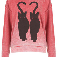 Twin Cat Burnout Sweat - Sweatshirts & Hoodies - Jersey Tops - Clothing - Topshop USA