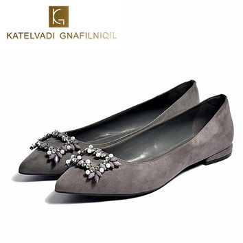 Brand Shoes Woman Crystal Flats Shoes Fashion Flats for Women Pointed Toe Flat Heel Ladies Shoes Rhinestone Ballet Flats K-093