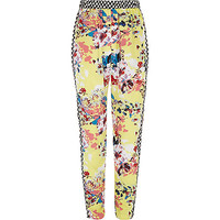River Island Girls yellow floral heart print joggers