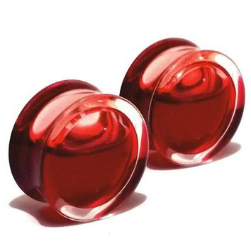 2pcs fashion flesh tunnels ear plugs big gauge piercing ear expanders Red Liquid Blood Acrylic 8mm - 25mm pircing body jewelry