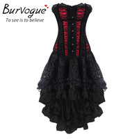 Steampunk Corsets Dress Vintage Bustier Top Gothic Overbust Corset Dress