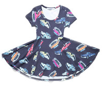 CAR CAMP SKATER DRESS / BLACK