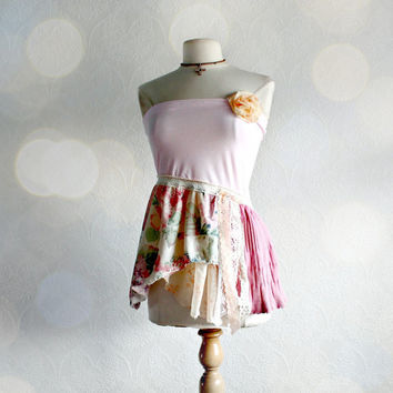 Shabby Chic Pink Strapless Top Eco Clothing Romantic Shirt Summer Clothes Women's Wear Tattered Style Upcycled Top Small Medium 'SASHA'