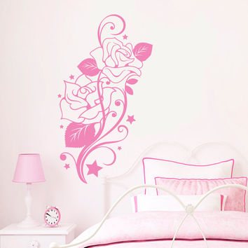 Wall Decal Flower Roses Design Decals for Florists Living Room Bedroom Bathroom Vinyl Stickers Home Decor Art Murals 2