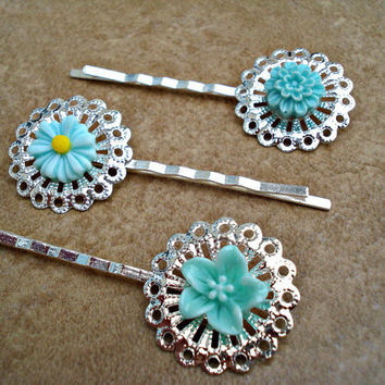 Set of 3 Silver Filigree Bobby Pins with Teal Flowers - Teal Daisy, Mum and Lily - Silver Filigree Flower Hair Pin