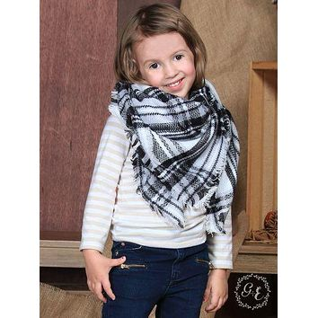 Girls' Winter Moonlight Plaid Blanket Scarf