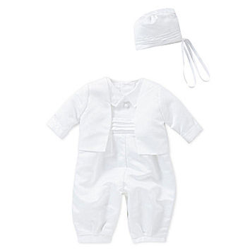 C. I. Castro & Co. 3-24 Months Two-Piece Christening Suit Set - White