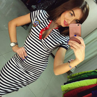 Real Photo Maxi Dresses Women V Neck Short Sleeve Bodycon Striped Button  Slim Fit Sheathy  Polo Dress Long Summer Dress
