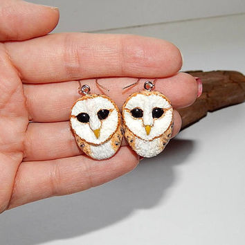 Barn owl earrings, Barn owl jewelry, handmade owl, owl totem, owl earrings, owl gift for her, night birds, animal totem, Wildlife jewelry